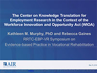 Rehabilitation Research and Training Center on Evidence-based Practice in Vocational Rehabilitation Symposium