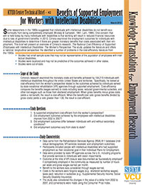 Benefits of Supported Employment for Workers with Intellectual Disabilities: KTER Center Technical Brief #2 (2012)