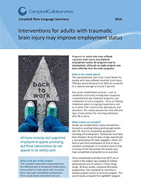 Interventions for adults with traumatic brain injury may improve employment status
