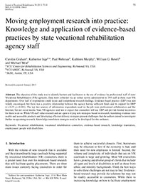 Moving Employment Research Into Practice
