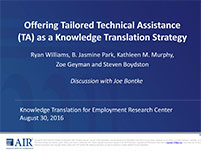 Webcast: Offering Tailored Technical Assistance as a Knowledge Translation Strategy