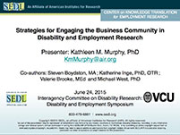 Image of the cover of the presentation: Strategies for Engaging the Business Community in Disability and Employment Research
